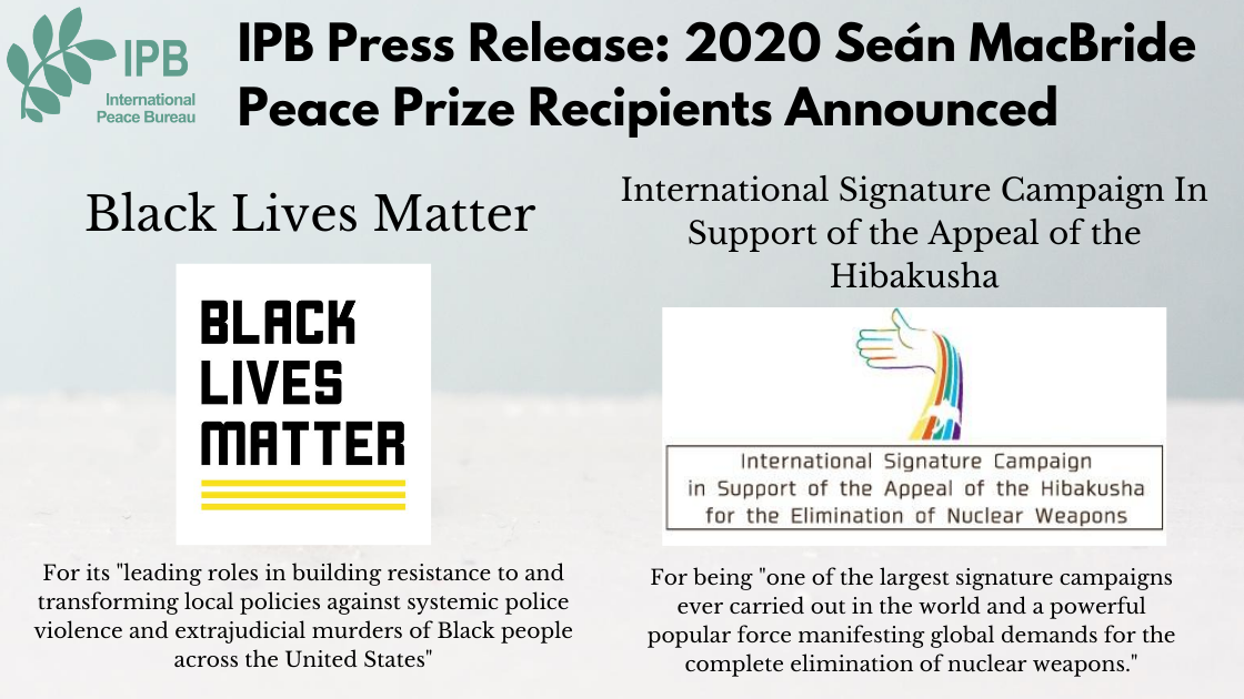 MacBride Prize 2020 awarded to Black Lives Matter and Hibakusha Signature Campaign