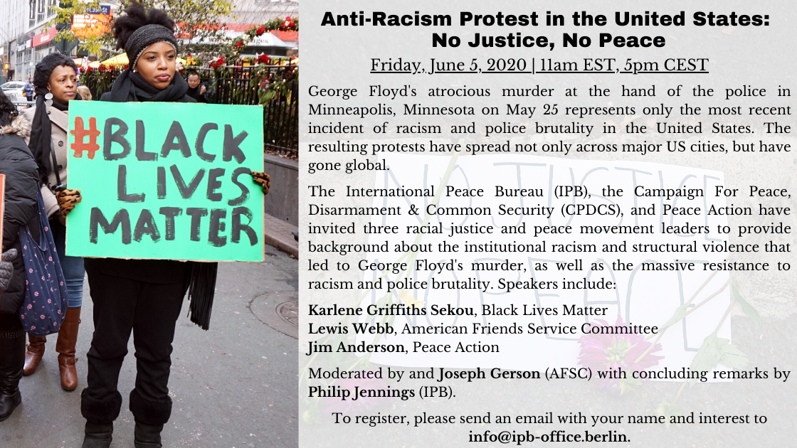 Webinar on Anti-Racism Protest in the United States: No Justice, No Peace