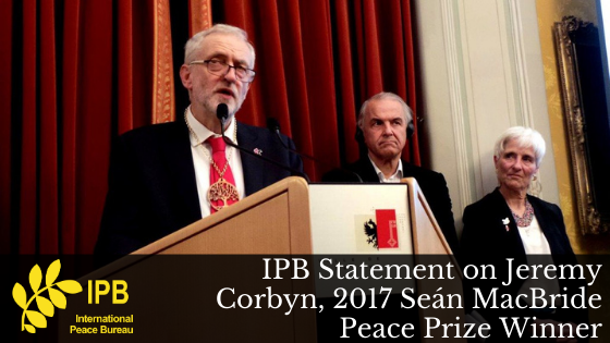 IPB Statement on Jeremy Corbyn, 2017 Seán MacBride Peace Prize Winner